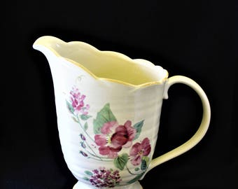Vintage Beautiful PFALTZGRAFF SILK ROSE 64 Ounce Footed Ironstone Pitcher Hard to Find Discontinued Pattern, Replacement, Add To Collection