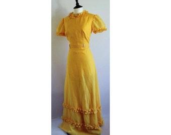 ORIGINAL 70's, Vintage Yellow Prairie Evening Dress, Bohemian Dress, Summer Maxi Dress, Floaty Party Dress, Vintage Dress, Tea party Dress.