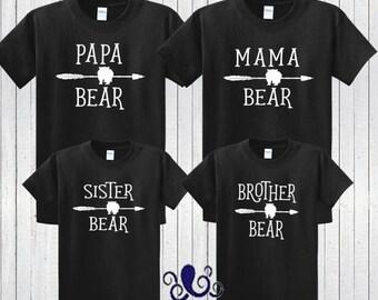 Mama Bear Shirt, Papa Bear Shirt, Brother Bear Shirt, Sister Bear Shirt, Family Bear Shirts, Mama Bear Shirt Set, Bear With Arrow