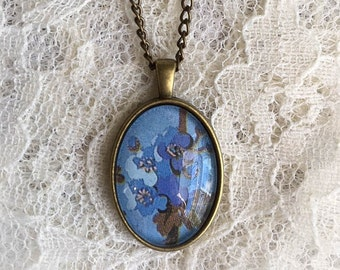 Victorian Inspired Floral Cabochon Necklace