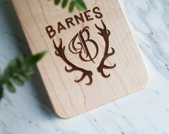 Deer Antler Monogram - (Cutting Board Not Included) - Custom Engraved for Cutting Board - Laser Engraved - Personalized - FREE CARE KIT