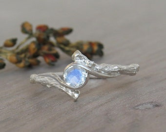 Moonstone Ring, Twig Ring with moonstone, Silver Moonstone Ring, Silver engagement ring, silver ring, rainbow moonstone, unique ring, Gift
