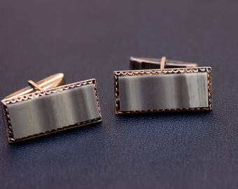 Sterling silver large natural Jasper cufflinks Made in USSR