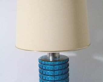 Beautiful table lamp, glass base, turquoise, cream lamp shade. Mid century.