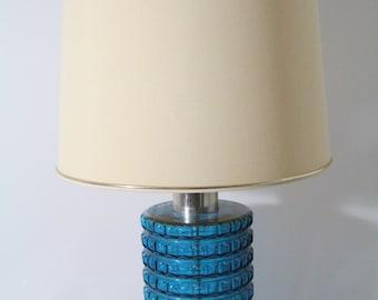Beautiful table lamp, glass base, turquoise, cream lamp shade. Mid century.