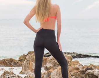 Black Yoga Pants - Bamboo Leggings- Activewear - Bamboo Yoga Pants - Black Leggings - High Waisted Leggings - Organic Cotton Leggings