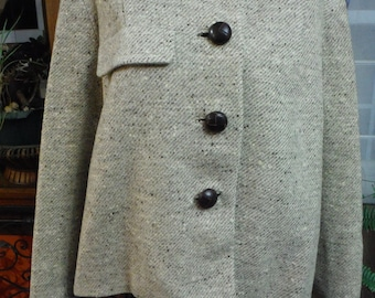 1940's Light Tan/ Beige Tweed Box Coat/ Half Coat