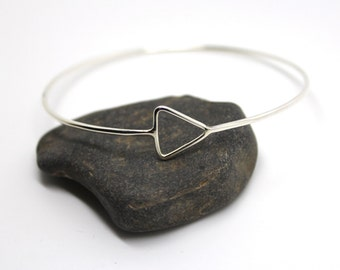 Silver triangle bangle, silver stacking bangle, handmade triangle bracelet, geometric jewellery, skinny triangle bangle, everyday bangle