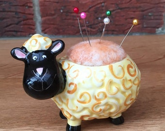 Sheep pin cushion hand painted china and needle felted 7cm