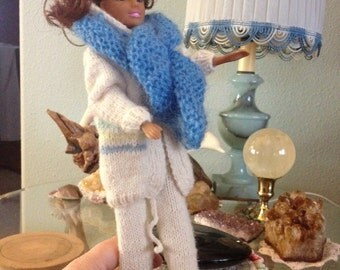 """Handcrafted """"Barbie"""" doll 3 piece sweater set"""