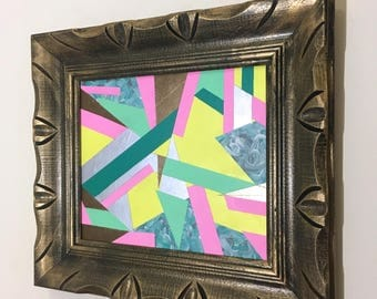 """Abstract Acrylic Painting on Board in Vintage Wood Frame - 17.5"""" x 15.5"""""""
