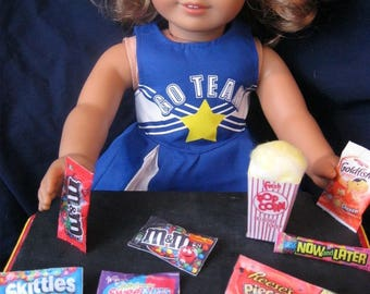 "lot#36--18 inch Doll Movie Snacks /candy/popcorn/m&ms/goldfish for American Girl/18"" doll, accessories, movie candy snacks doll food lot"