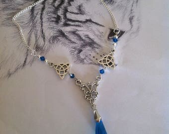 Fancy necklace silver and Blue Crystal beads
