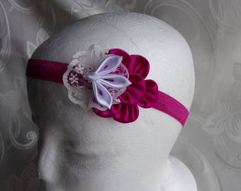 Banner baptism or communion with flower/headband baby pink and white satin and lace white/Fleur kanzashi