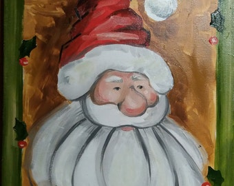 Santa Claus Oil painting Christmas gift Merry Christmas