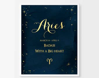 Aries Gifts - Real Gold Foil Print - Aries Print Aries Poster - Aries Art Print Zodiac Poster - March Birthday Gifts - April Birthday Gift