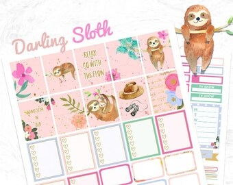 Sloth Planner Stickers, Printable weekly kit, Animal stickers, Sloth stickers, use with Erin Condren, floral, watercolor stickers, Cutfiles
