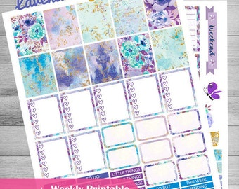 Printable Planner Stickers, Lavender Planner, Weekly printable planner, floral stickers, use with Erin Condren, Lilac, Gold, Woodland animal