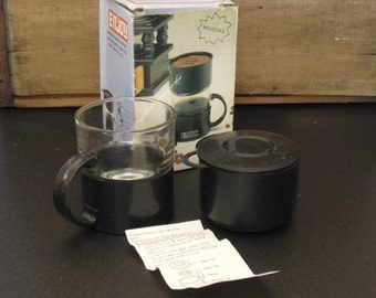 Vintage Portable Tea and Coffee Maker, Enjoy Brand, Coffee Cup with Filter Net, Travel Hot Tea and Coffee Maker, Original Box and Contents