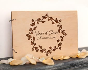 Wedding Guest Book Unique guestbook Rustic wood guest book Leaf guestbook Floral Wreath Wedding Guestbook Bridal Shower Gift Wedding Journal