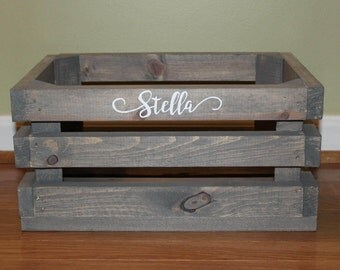 Small Personalized Rustic Wood Crate