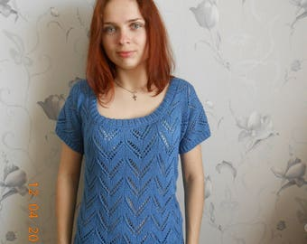 Knitted women's top spokes Women's lace top Women's summer top Knitted summer blouse Blue top Knitted cotton top Women's knitted t-shirt