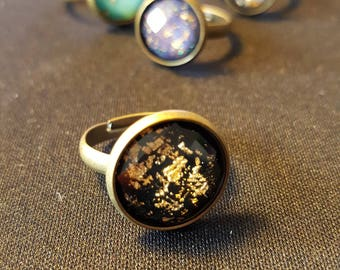 Faceted Diamonds Gold Ring - blue, purple, purple and black cabochons with gold foil - treasure - ocean - reflections