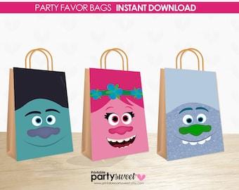 Trolls Birthday Favor Bags, Trolls Gift Bags, Trolls Party, Trolls Poppy, Party supplies, Trolls Printable, Troll Guy Diamont, Troll Branch