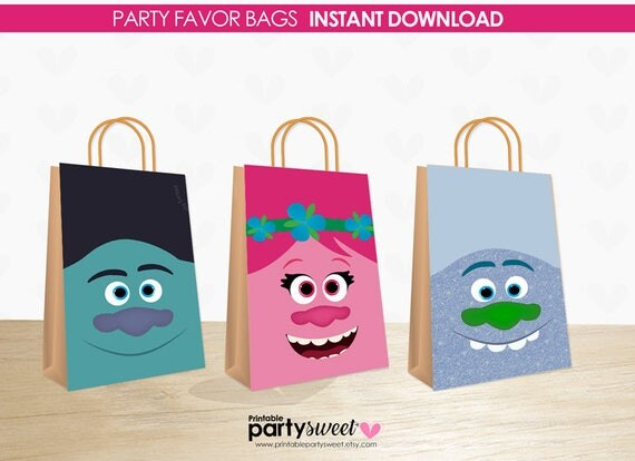 decorar bolsa regalo cumplea os trolls poppy trolls branch