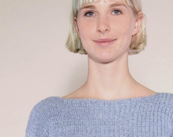 """light blue, handknitted sweaters """"MOLA VARMON"""" cashmere slim and elegant with GOTS of certified organic wool, blue wool sweater"""