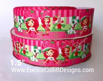 """1.5"""" Strawberry shortcake inspired ribbon"""