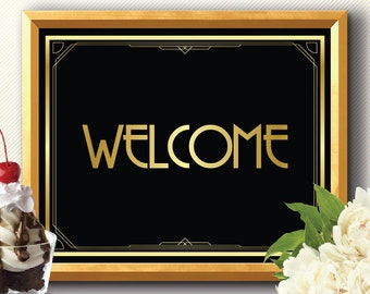 Welcome Sign, reception welcome sign, greeting welcome sign, art deco welcome sign, Great Gatsby welcome sign, wedding welcome sign, party
