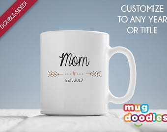 New Mom Mug, New Mom Gift, Mom Est 2017, Mom Mug, Gift for New Mom, Baby Shower Gift, Expecting Mom Gift, New Baby Gift, Gift for Her, MD278