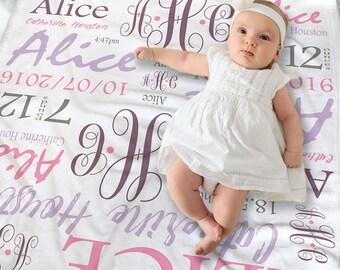 Personalized baby etsy monogrammed baby girl blanket newborn baby girl gift baby shower gift newborn photo negle Choice Image