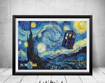 Doctor Who Starry Night Print, Tardis Print, Doctor Who Poster, Doctor Who Art, Doctor Who Wall Art, Vincent van Gogh, Dr Who Illustration