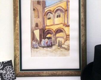 Church of the Holy Sepulchre. Jerusalem watercolour, Jerusalem art, Christian landmark, Holy land painting