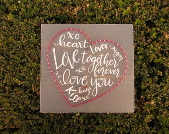 Valentine Word Heart String Art *Made-to-Order*