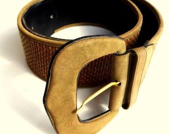 Womens Vegan leather belt brown wide belt woven vegan leather belt braided belt brown tan bohemian belt vintage 1990s 90s