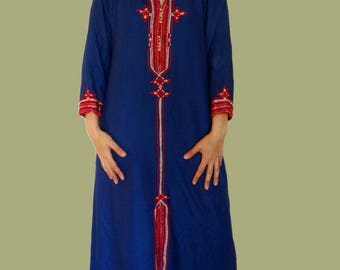 Tunic dress maxi tunic dress with hood kaftan dress with hood blue Indian tunic hooded kaftan maxi kaftan Medium US 10 Vintage Active