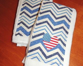 SALE***Blue Chevron Burp Cloths with Flag Heart