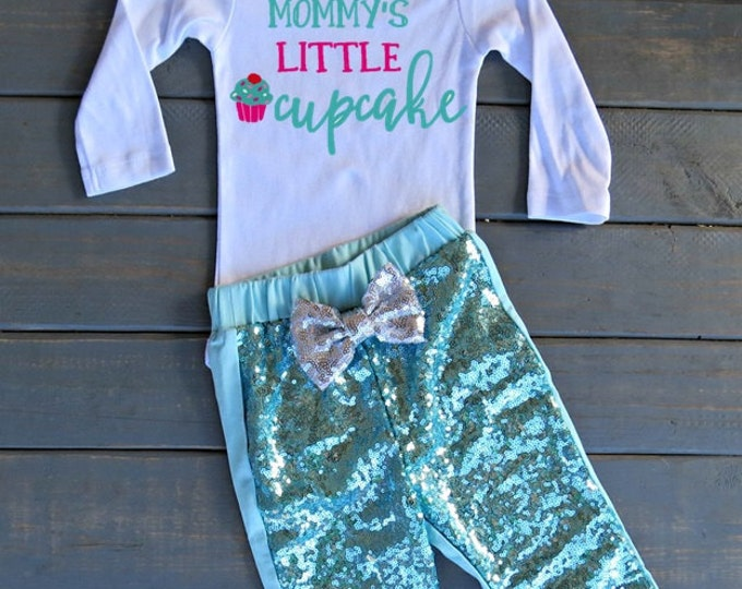 Mommy's Little Cupcake Mint Outfit, First Birthday Outfit, Cupcake Birthday Top, Girls' Birthday Outfit