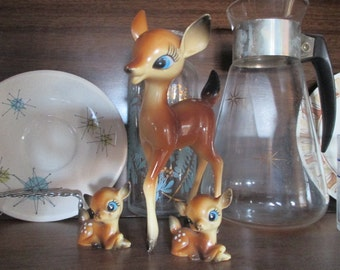 Mid Century  Kitsch Deer Family