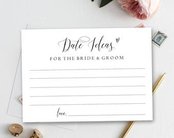 Date Ideas for the bride and groom, printable date idea cards, bridal shower game, date jar, date idea, instant download, advice #PPSB36