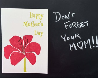 Letterpress Lily Mother's Day Card