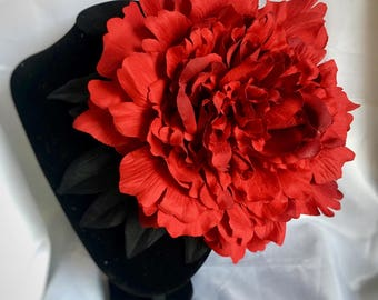 Large corsage - 30s fashion, 40s fashion, vintage style, red corsage, peony flower corsage - black leaves - lightweight, large dress corsage