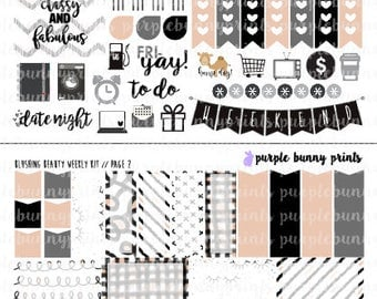 Blushing Beauty Weekly Kit // Sized for the Vertical ECLP // Planner Stickers!