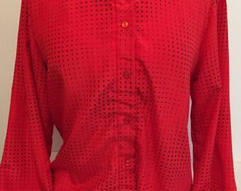 Red blouse - Vintage Blouse - Retro Blouse - Red Shirt - En Chante