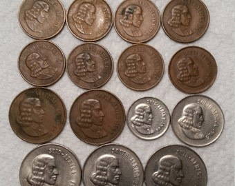 15 south africa vintage coins 1966 - 1969  / cents coin lot - world foreign collector money numismatic a8