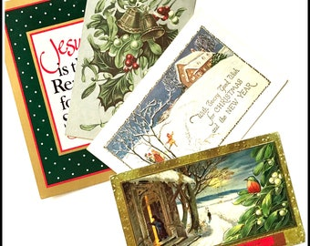 Vintage Postcards - Set of (4) Four - Holidays - Christmas - New Year