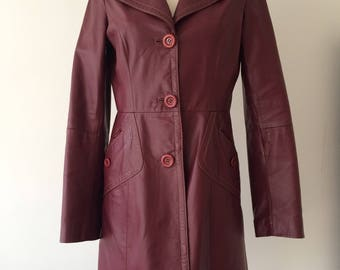 Faux leather burgundy wine-coloured coat